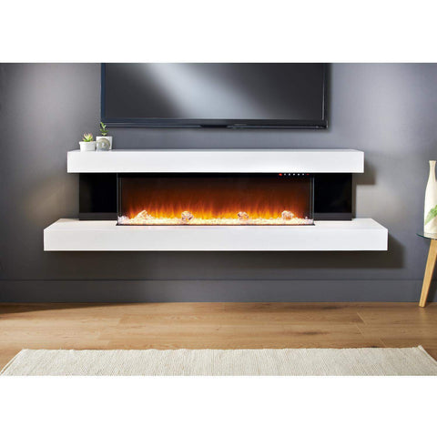 "Evolution Fires Alpha 72"" Black Panel Electric Fireplace Wall-mount"