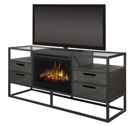 Dimplex Ivan Electric Fireplace Media Console in Noir Brown GDS25LD-4034NB