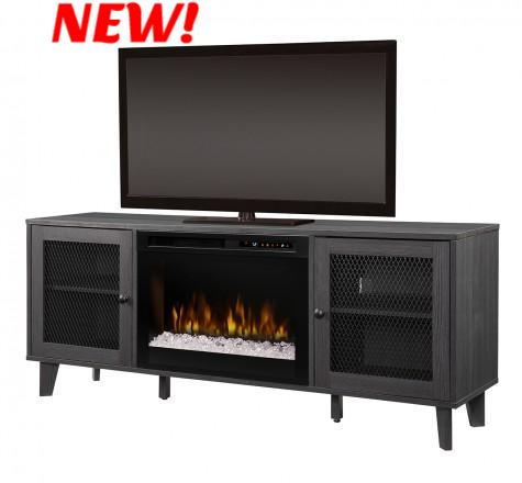 The Dean Acrylic Ice(XHD) Electric Fireplace Media Console in Wrought Iron