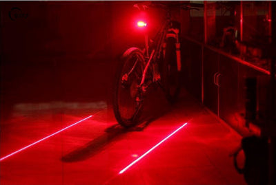 Laser + LED Safety Bicycle Tail Light