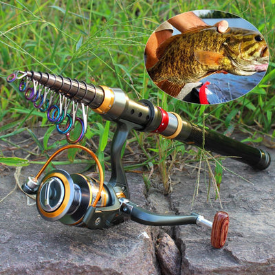 RodTech™ Telescopic Fishing Rod + Spinning Reel 7 Sizes Combo