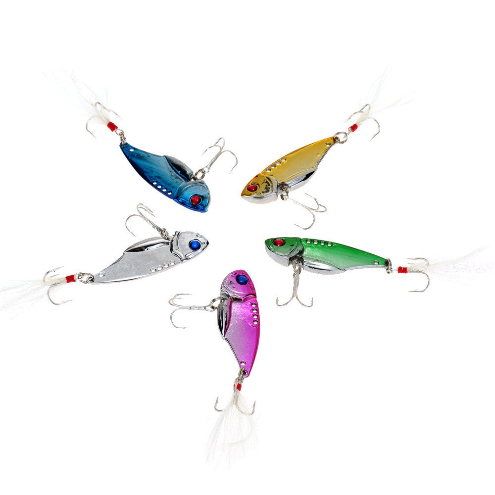 Hard Metal Fishing Lures Aluminium Alloy Pack of 5 PCS