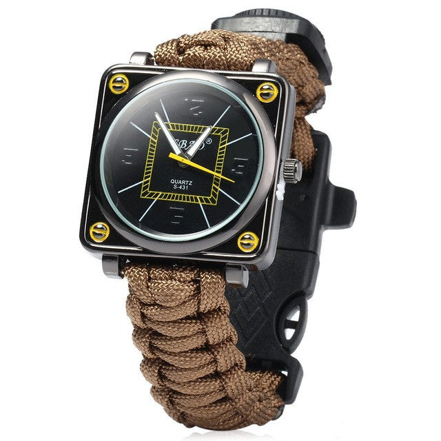 Paracord Survival Watch Flint Fire Starter Compass