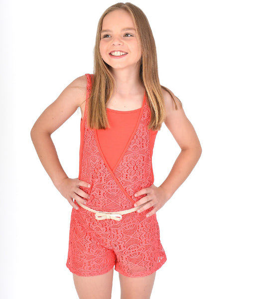 Girls Lace Shorts Playsuit in Coral Colour