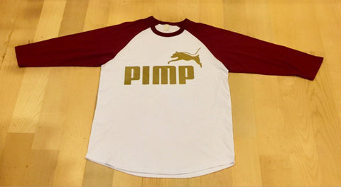 White and Maroon Pimp C baseball Tshirt with PIMP logo on front in Gold