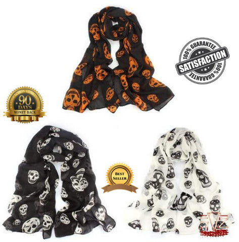 Almost FREE - Long scarf with skull pattern - 3 colors