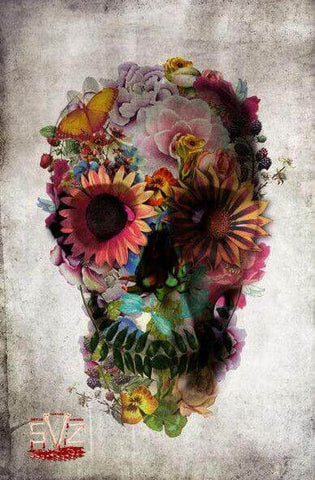 Poster, mexican sugar skull in flower 2 sizes.