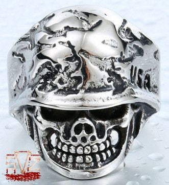 Almost FREE - USA skull soldier ring - 7 sizes
