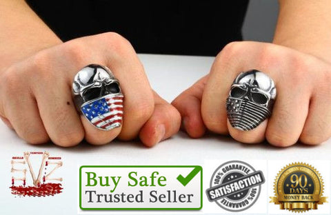 Almost FREE - American flag as skull ring, 2 colors, 9 sizes.