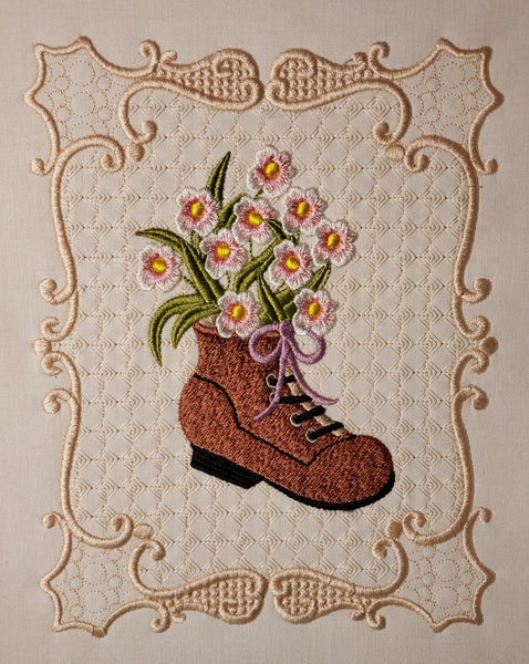 Flowers in a shoe 8 x 8
