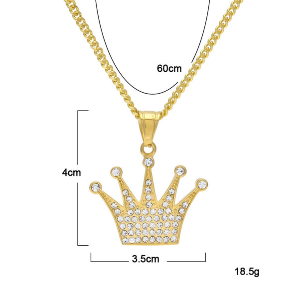 King's Crown (Stainless Steel) Gold Plated Pendant (Cubic Zirconia Necklace)