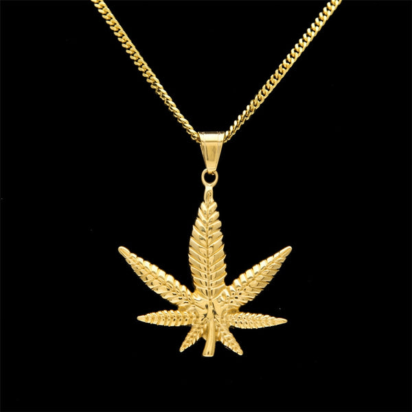 Stainless Steel Gold Plated - Weed Leaf Pendant and Rope Chain