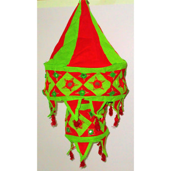 Traditional design Lamp Shade (Round)-Appliques-OdiKala Handicrafts-Red and Green-21 cm length and 27 cm diameter-OdiKala