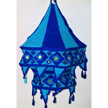 Traditional design Lamp Shade ( Square )-Appliques-OdiKala Handicrafts-Blue and Turquioise-21 cm length and 27 cm diameter-OdiKala