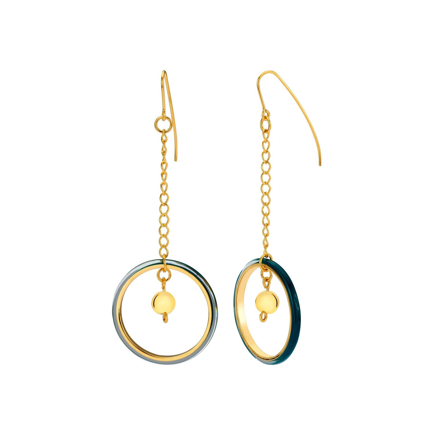 Thin Chain Drop Lucite Earrings with Bead