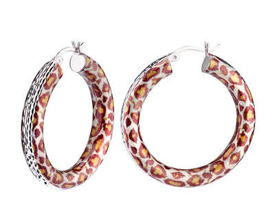 Animal Print Diamond Cut Hoops - LEOPARD