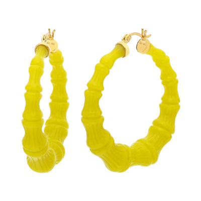 Lime Punch Lucite Bamboo Hoops