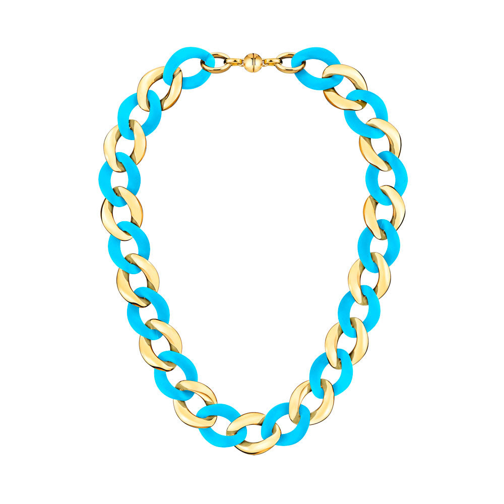 Turquiose Extra Large Curb Link Lucite Necklace GOLD