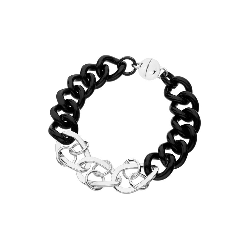 Black & Gold Curb & Double Linked Lucite Bracelet