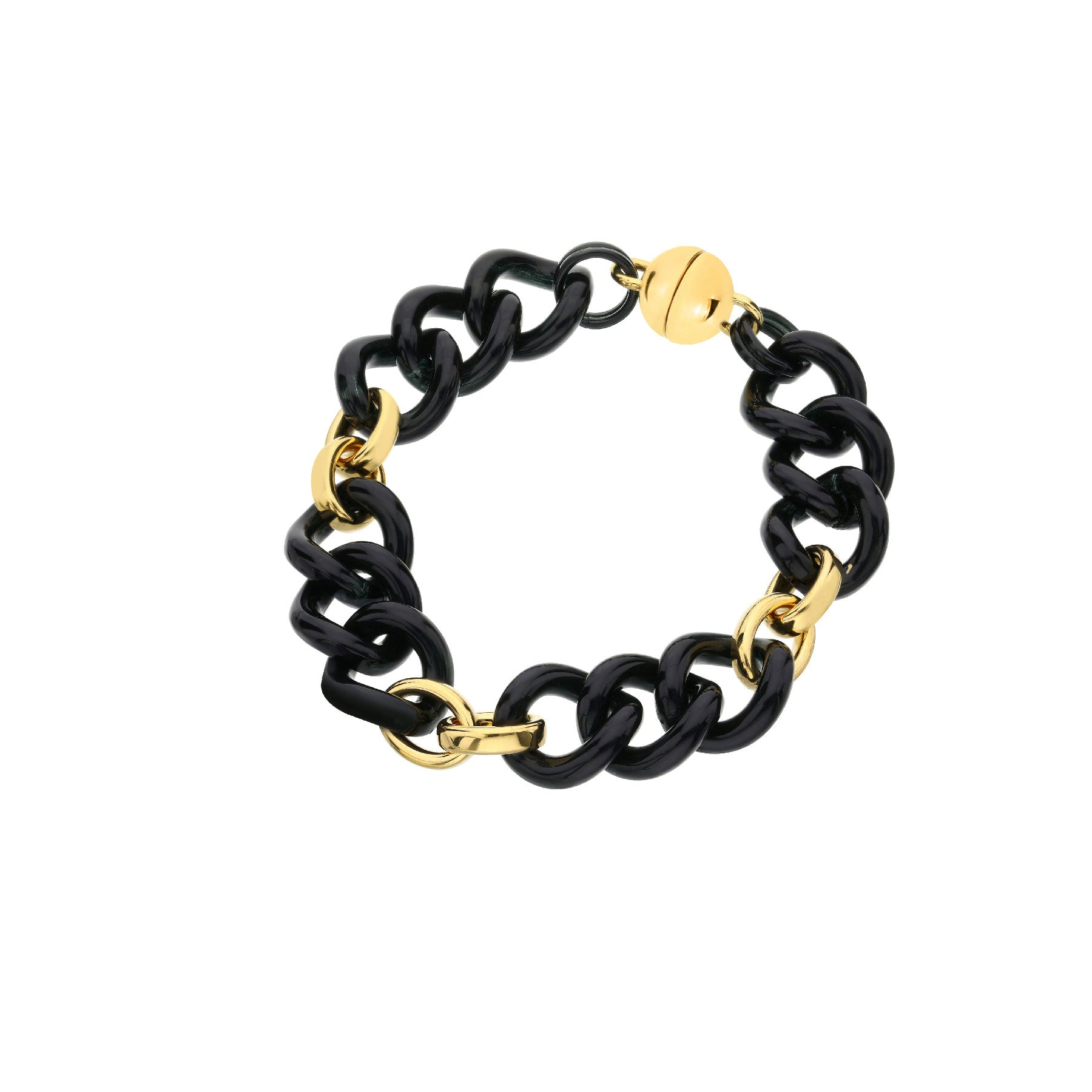 Black & Gold Curb Link Station Lucite Bracelet