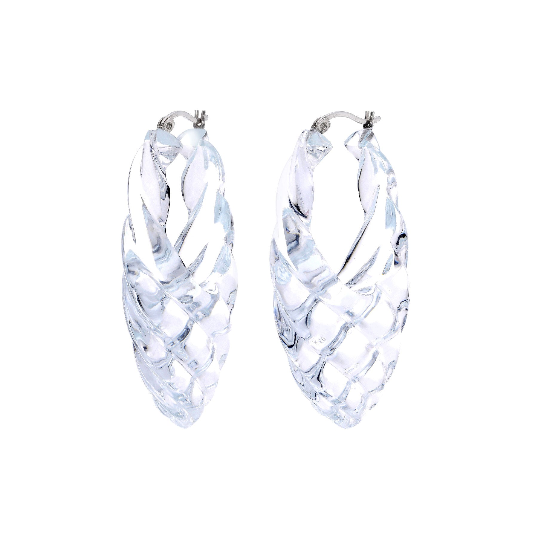 Sculpted Quilted Marquise Lucite Hoops