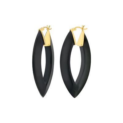 Black Marquise Lucite Hoops