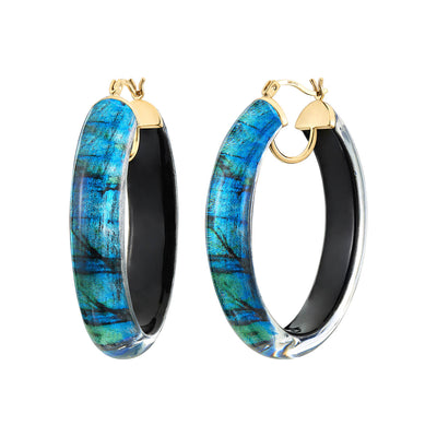Printed Oval Lucite Hoops - SEA
