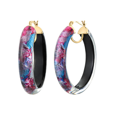 Printed Oval Lucite Hoops - PASTEL SKY