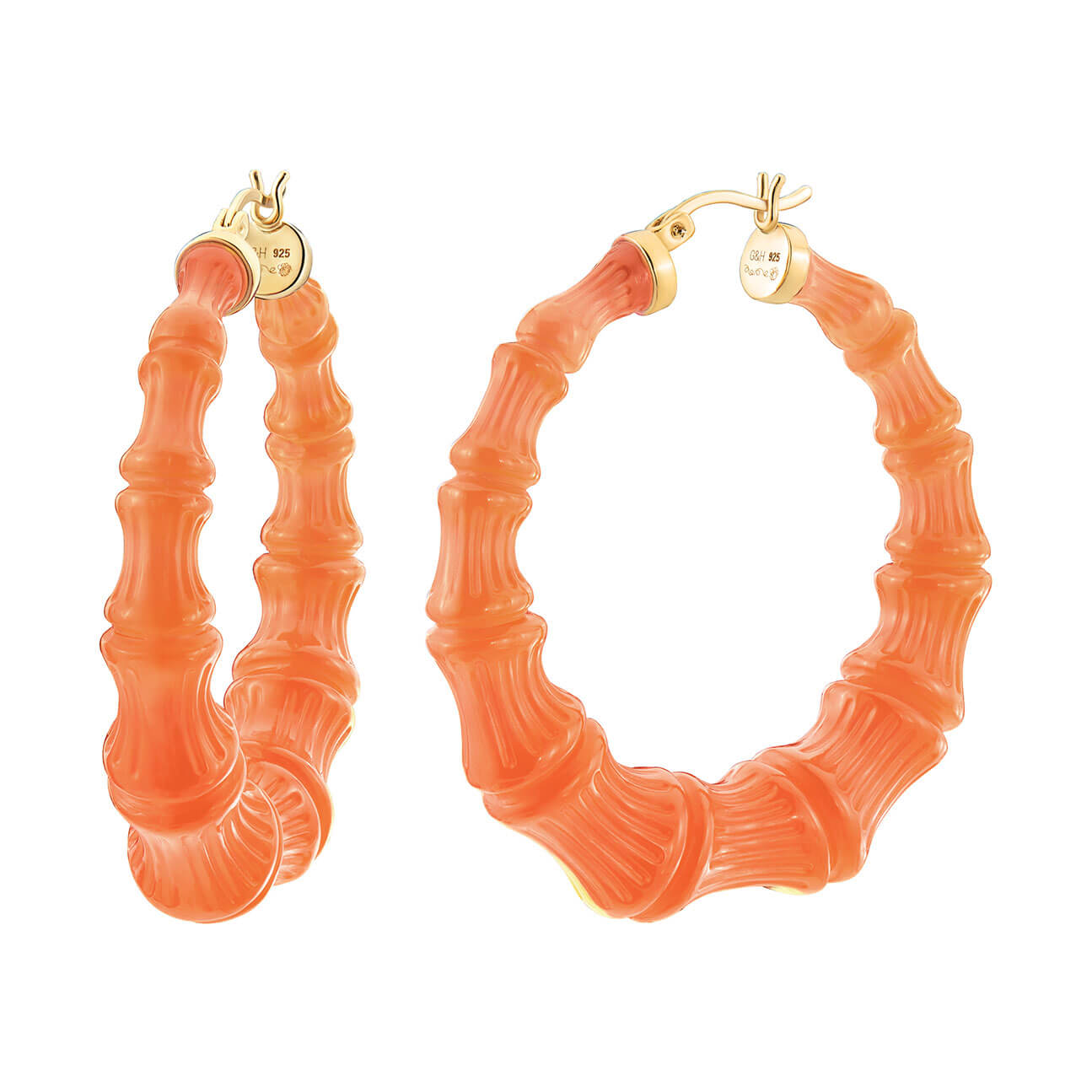 Living Coral Lucite Bamboo Hoops