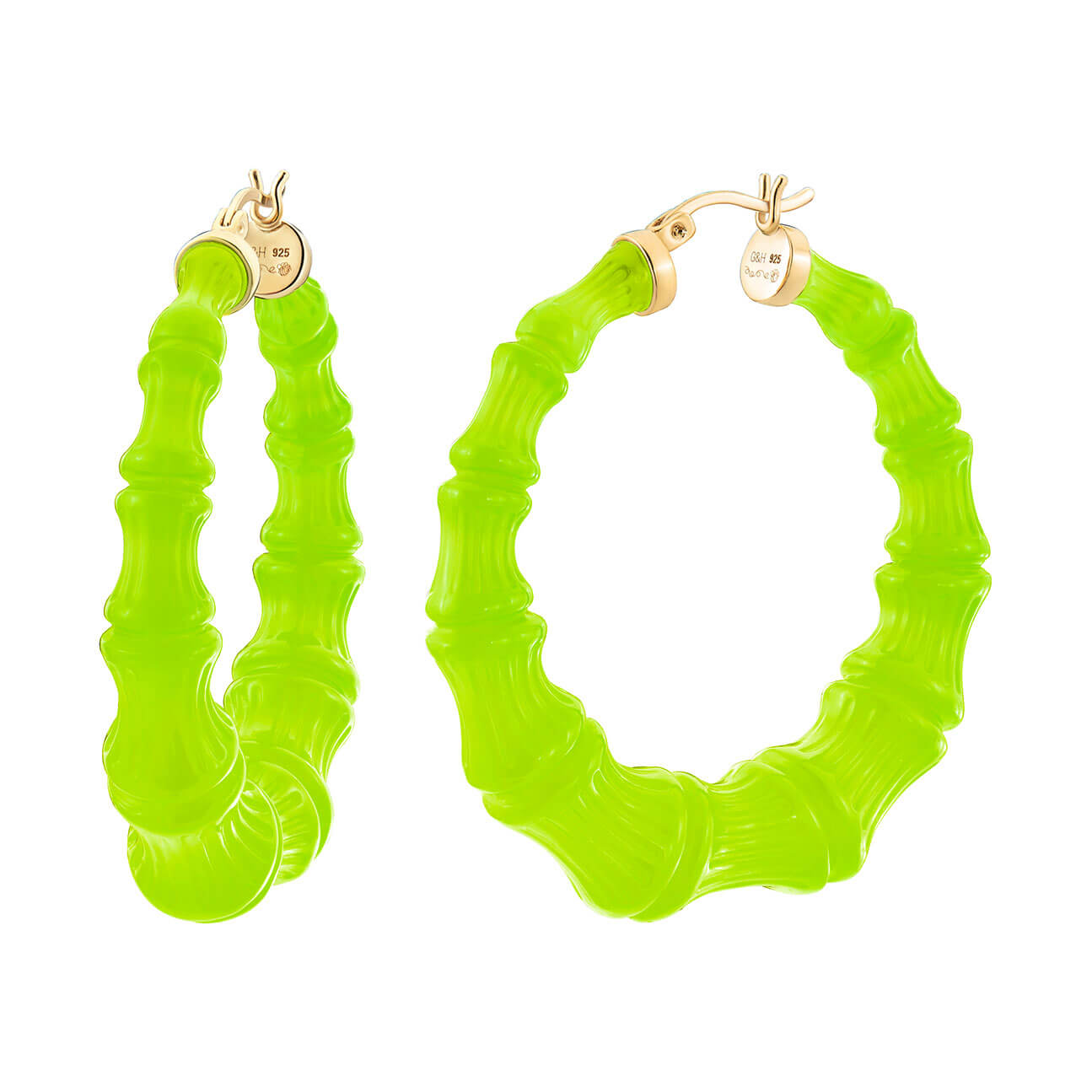 Neon Green Lucite Bamboo Hoops