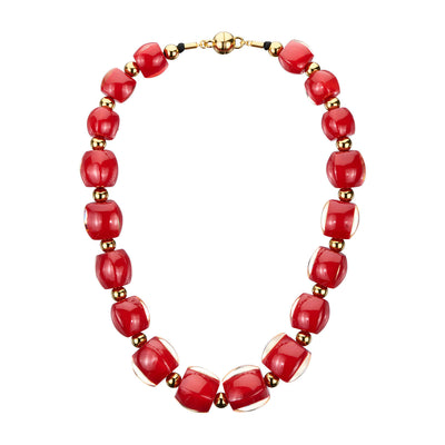 Beaded Lucite Necklace - CARNELIAN