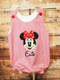 Minnie Mouse Bubble,Girls Minnie Bubble,Girls Dress,Appliqué EmbroideredBubble