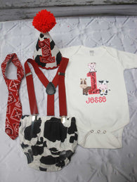 Boys Cake Smash Outfit,Cow Print Cake Smash Outfit,Farm Animals Cake Smash,Boys First Birthday Clothes,
