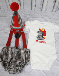 Boys Cake Smash Outfit,Fireman Cake Smash Outfit,Boys First Birthday Clothes,