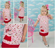 Peppa Pig Girls Dress,Girls Birthday Dress,Girls Party Dress,Girls Peasant Dress