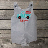 Boys Valentine Jon,Boys,Truck Jon,Boys First Valentine Clothes,Boys First Valentine Outfit,Appliquéd Embroidered Jon Jon Shortall Longall