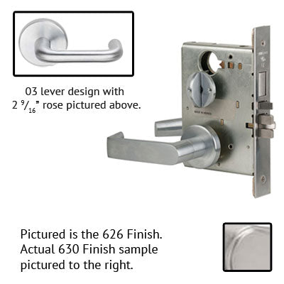 Schlage L9040 03B 630 Stainless Steel Finish Privacy Lever Mortise Lock With Cylinder