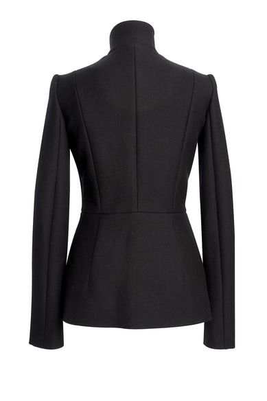 Black Wool Jacket With Red Pleat On Side