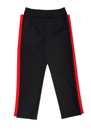 Black Classic Trousers With Red Line On Side