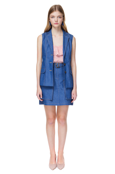 Evelyn Denim Vest With Stitched Details