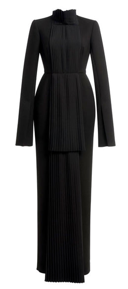 Black Long Wool Dress Pleated Front Details
