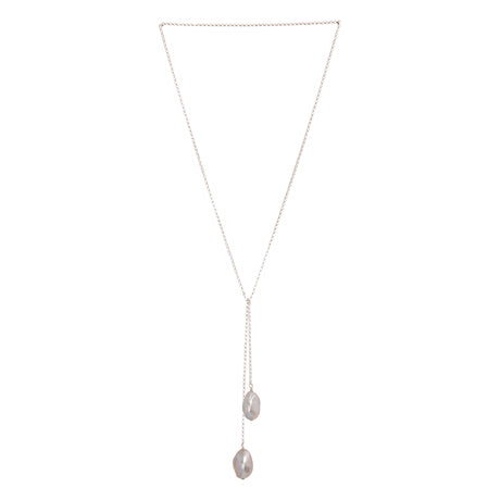 Tied To Coco Silver Grey Pearl Necklace