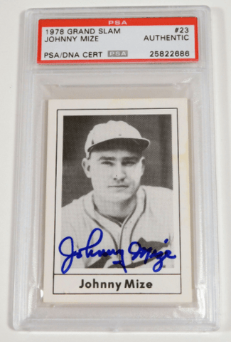 Johnny Mize Signed 1978 Grand Slam Baseball Card – PSA/DNA Certified