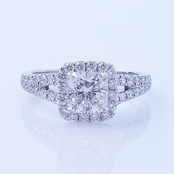 Cushion Cut Split Shank Diamond Engagement Ring