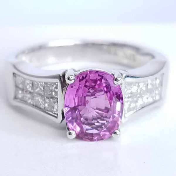 Pink Sapphire Diamond Right Hand Ring - SEA Wave Diamonds