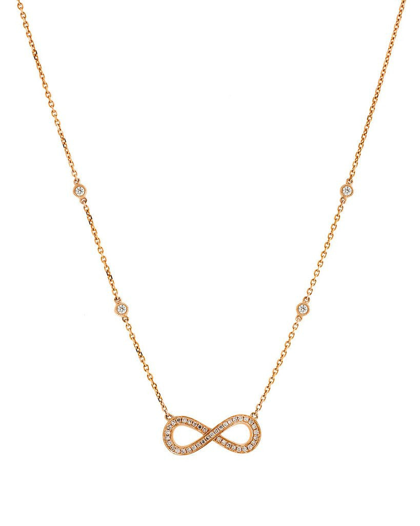 Infinity Diamond Necklace in 14K Rose Gold