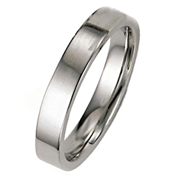 14K White Gold 4mm Flat Wedding Band - SEA Wave Diamonds