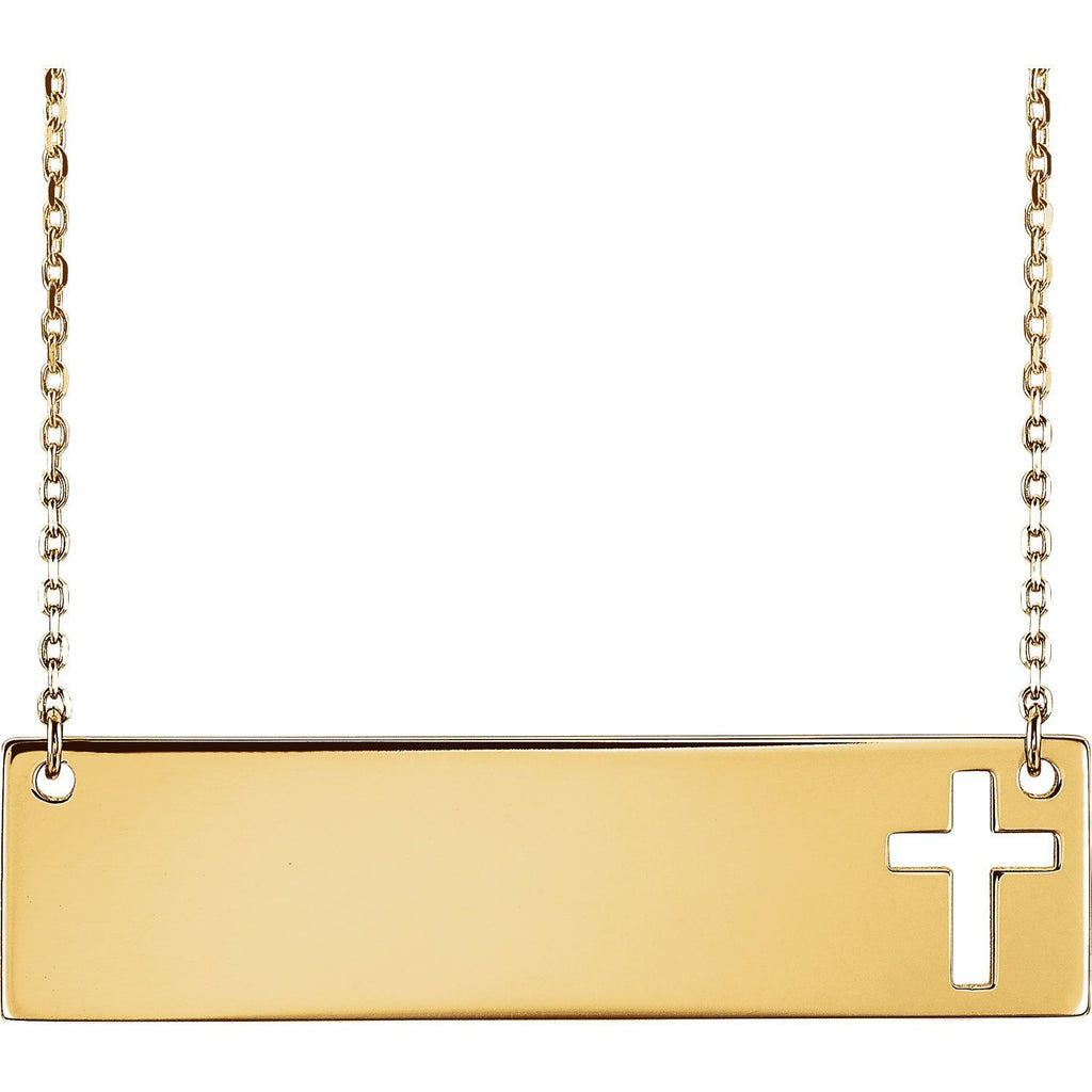 14K Engravable Cross Necklace - SEA Wave Diamonds