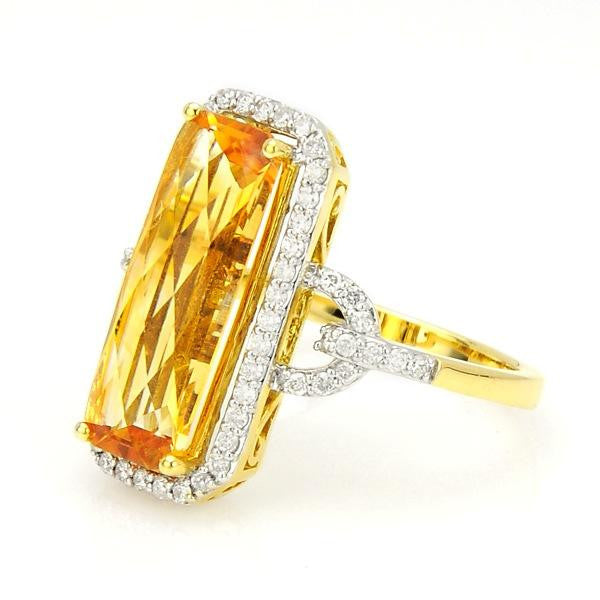 Topaz And Diamond Fashion Ring In 18k Yellow Gold - SEA Wave Diamonds