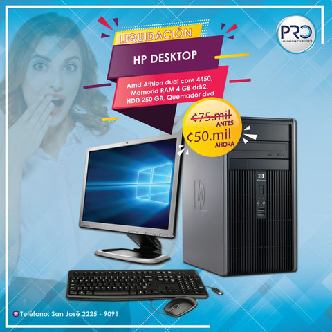 HP DC5850 MicroTower -AMD- HDD 250 GB- 4 GB